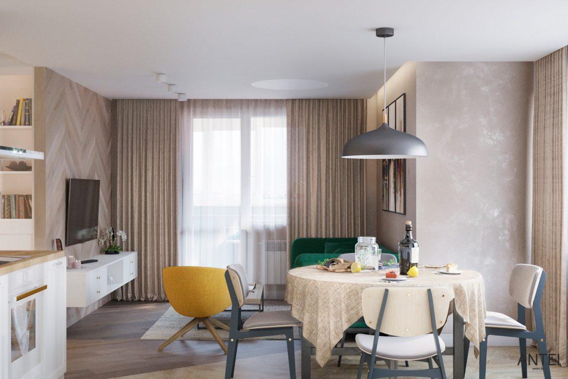 Дизайн интерьера трехкомнатной квартиры в Гомеле, ул. Бородина - кухня фото №2