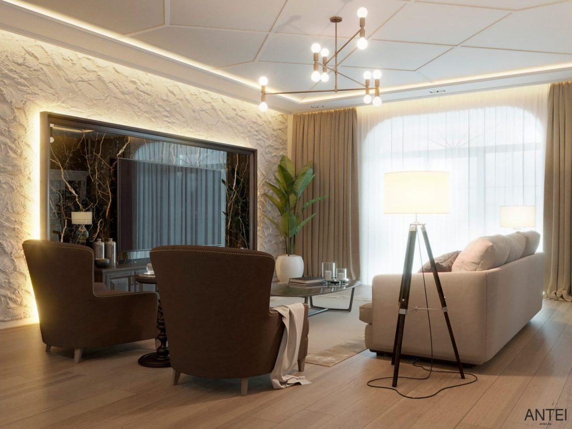 Дизайн интерьера двухэтажного дома в Гомеле, по ул. Брянская - гостиная фото №3