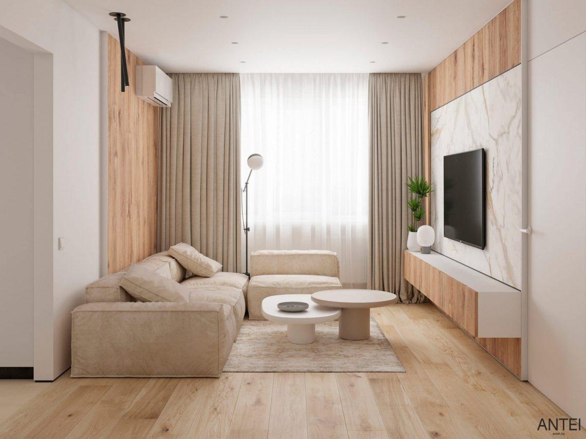 Дизайн интерьера трехкомнатной квартиры в Речице, ул. Наумова - гостиная фото №3