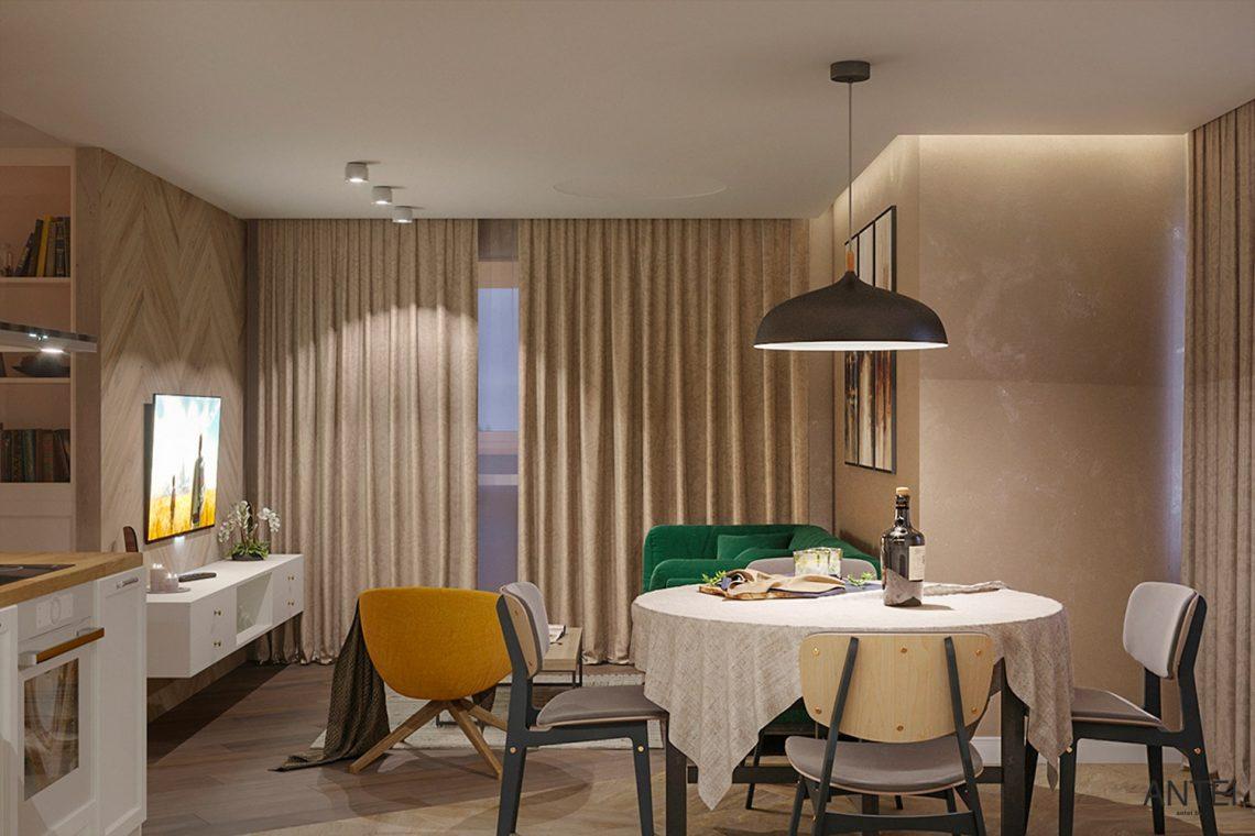 Дизайн интерьера трехкомнатной квартиры в Гомеле, ул. Бородина - гостиная фото №3