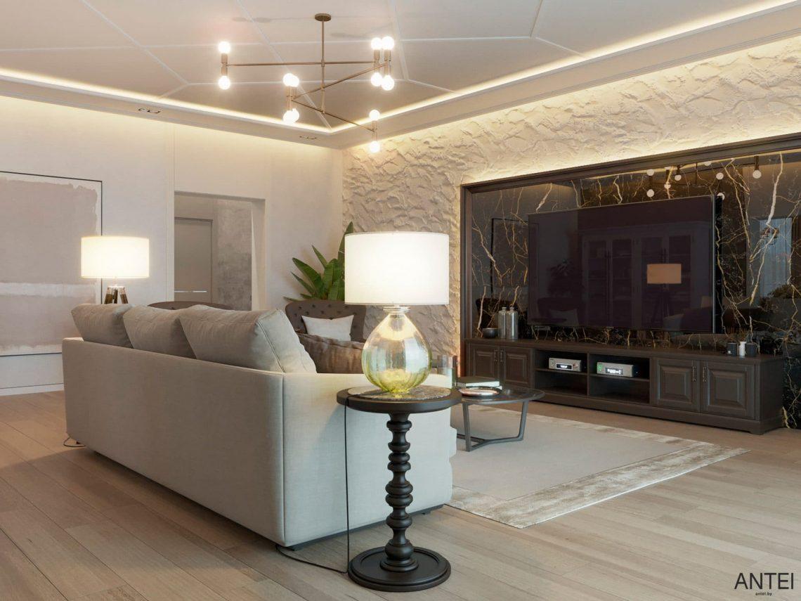 Дизайн интерьера двухэтажного дома в Гомеле, по ул. Брянская - гостиная фото №4