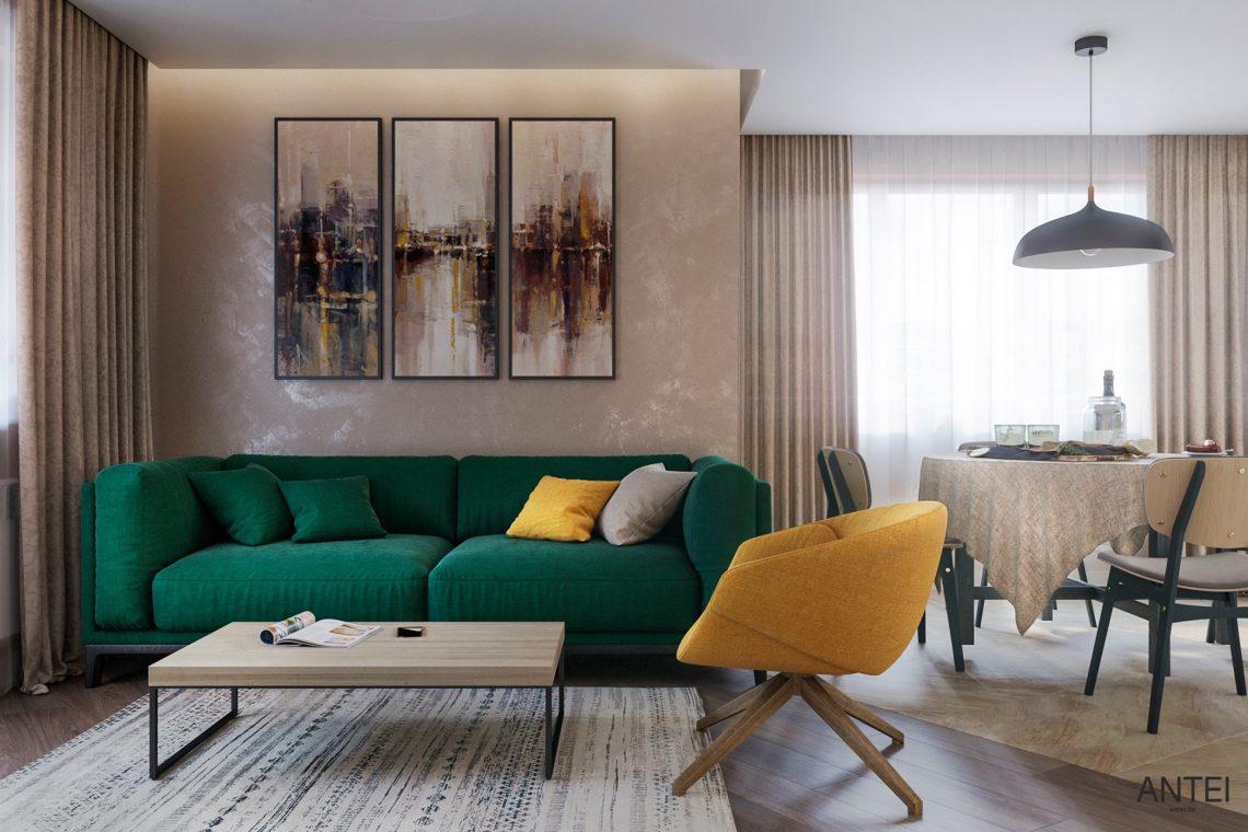Дизайн интерьера трехкомнатной квартиры в Гомеле, ул. Бородина - гостиная фото №2