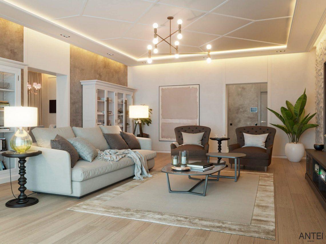 Дизайн интерьера двухэтажного дома в Гомеле, по ул. Брянская - гостиная фото №2