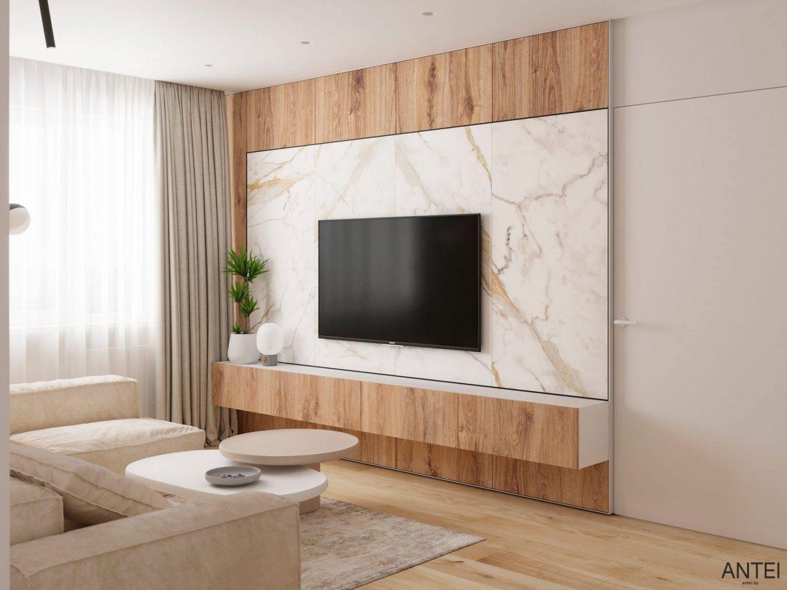Дизайн интерьера трехкомнатной квартиры в Речице, ул. Наумова - гостиная фото №4