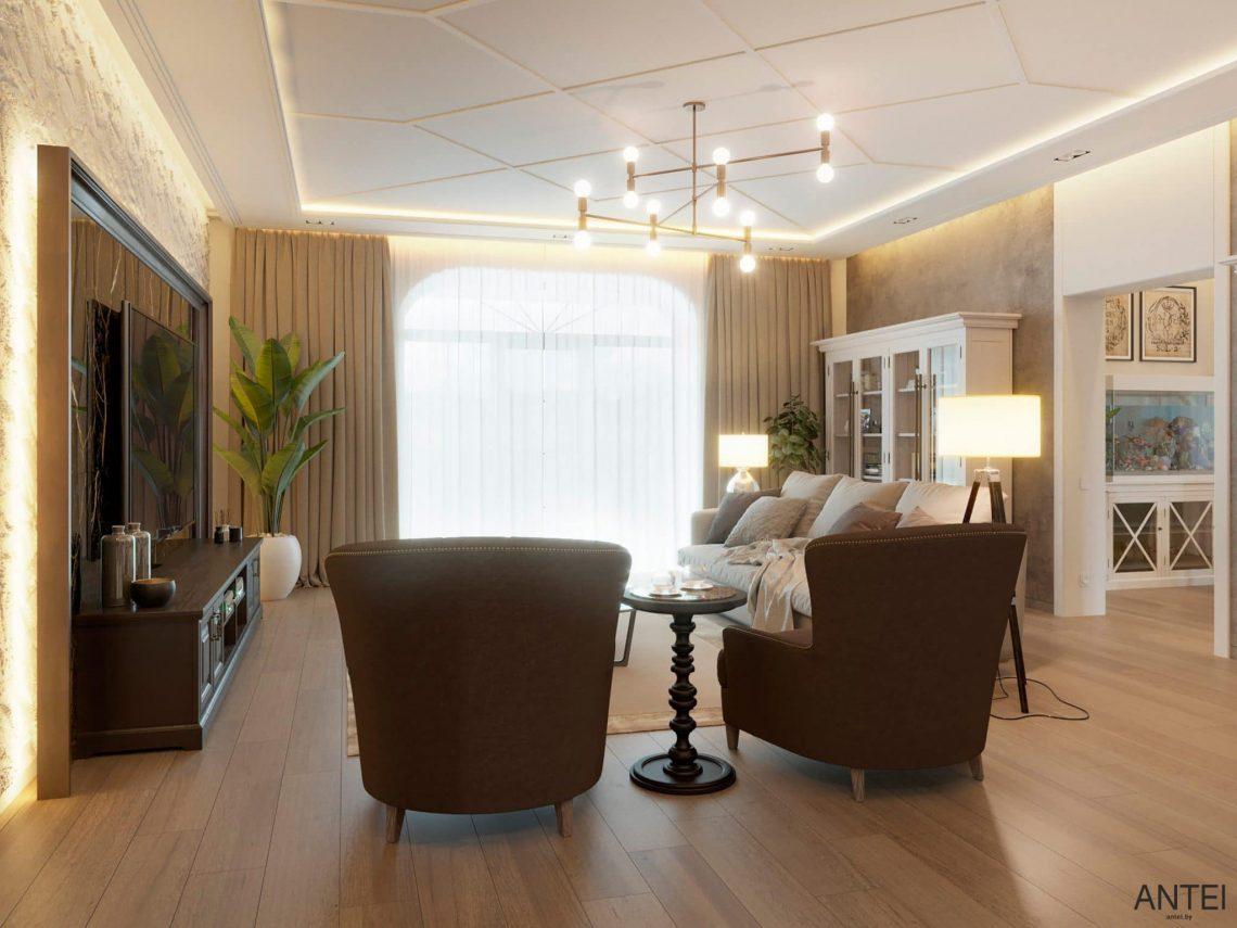 Дизайн интерьера двухэтажного дома в Гомеле, по ул. Брянская - гостиная фото №5