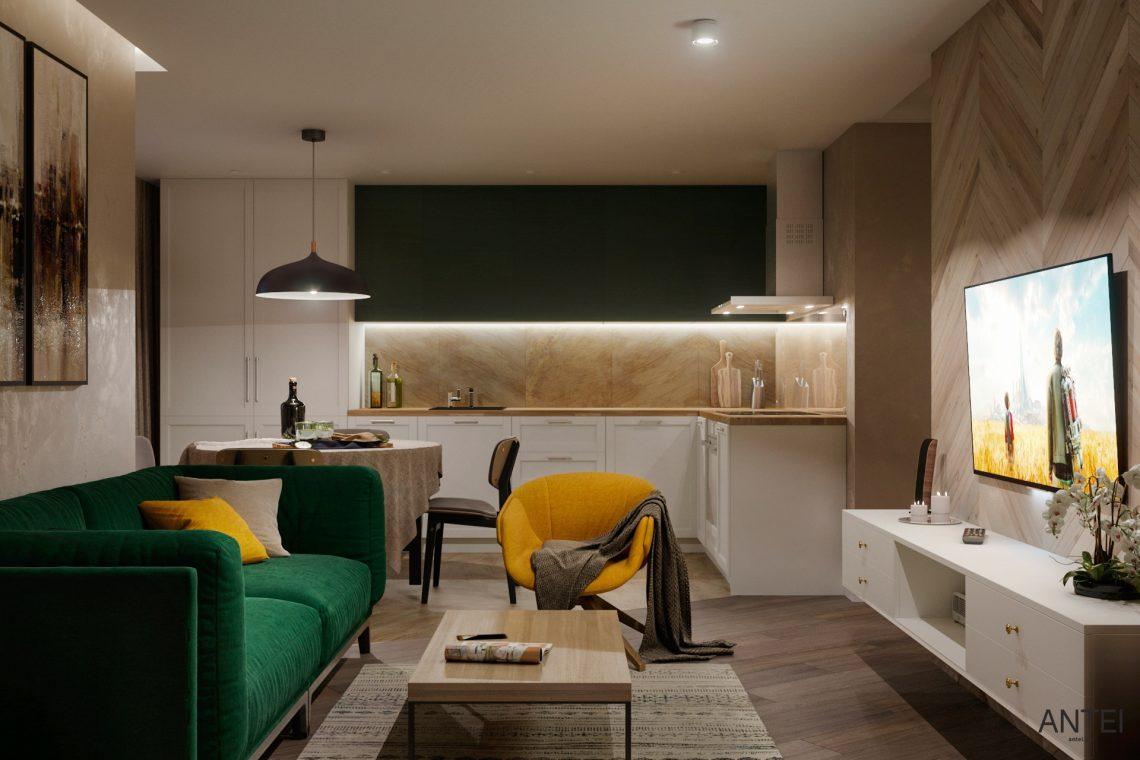 Дизайн интерьера трехкомнатной квартиры в Гомеле, ул. Бородина - кухня фото №4