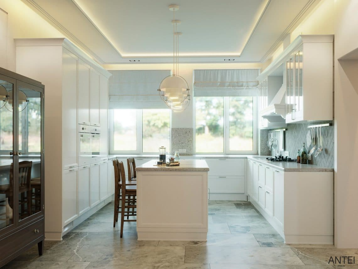 Дизайн интерьера двухэтажного дома в Гомеле, по ул. Брянская - кухня фото №1