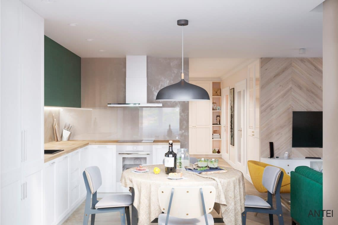 Дизайн интерьера трехкомнатной квартиры в Гомеле, ул. Бородина - кухня фото №1