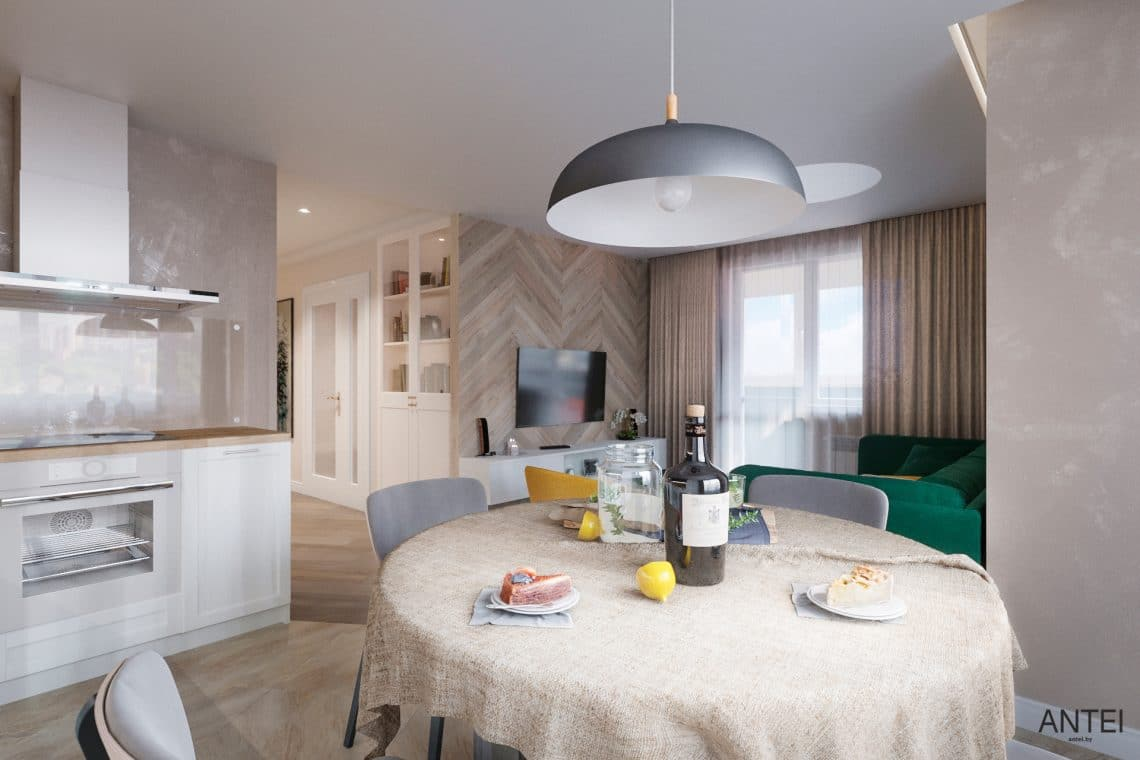 Дизайн интерьера трехкомнатной квартиры в Гомеле, ул. Бородина - кухня фото №3