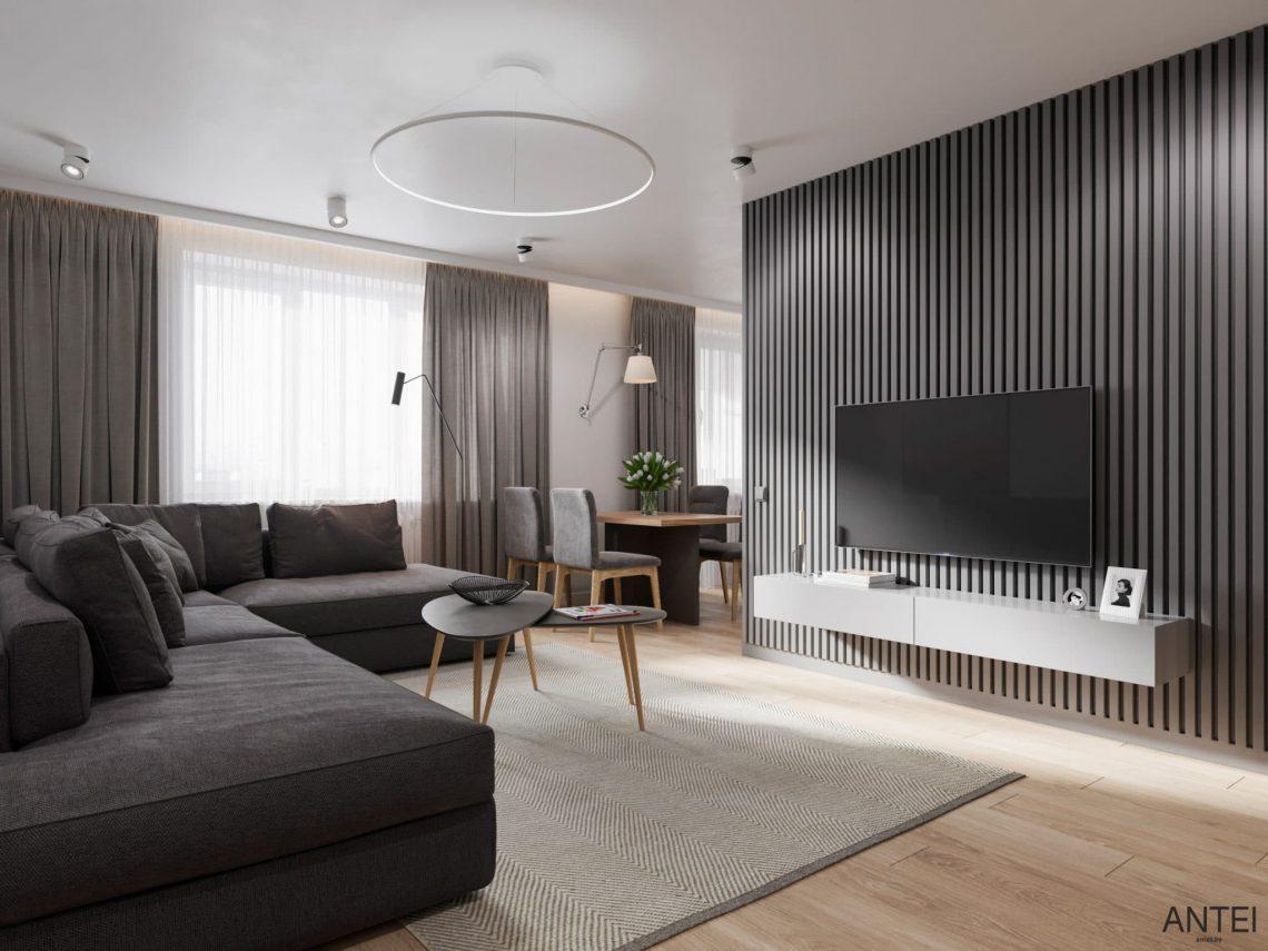 Дизайн интерьера трехкомнатной квартиры в Гомеле, по ул. Садовая - кухня-гостиная фото №2