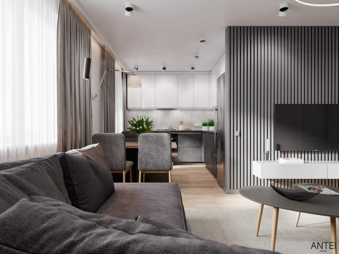 Дизайн интерьера трехкомнатной квартиры в Гомеле, по ул. Садовая - кухня-гостиная фото №5