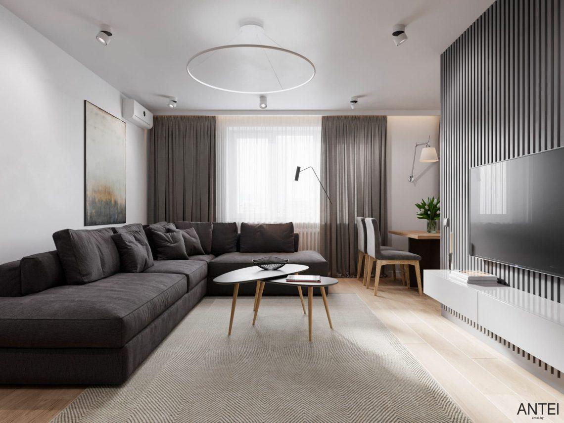 Дизайн интерьера трехкомнатной квартиры в Гомеле, по ул. Садовая - кухня-гостиная фото №1