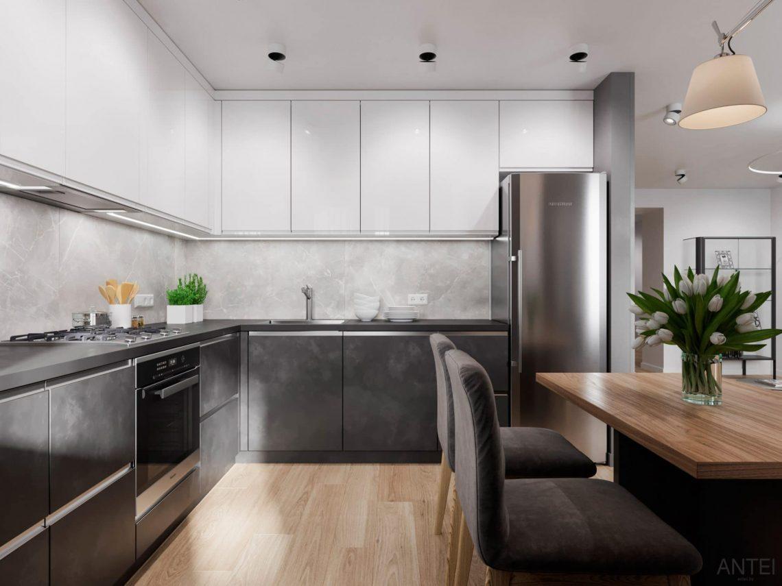 Дизайн интерьера трехкомнатной квартиры в Гомеле, по ул. Садовая - кухня-гостиная фото №6