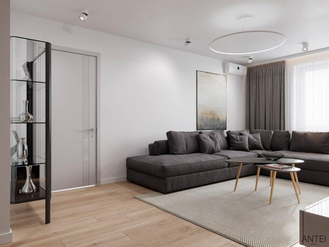 Дизайн интерьера трехкомнатной квартиры в Гомеле, по ул. Садовая - кухня-гостиная фото №3
