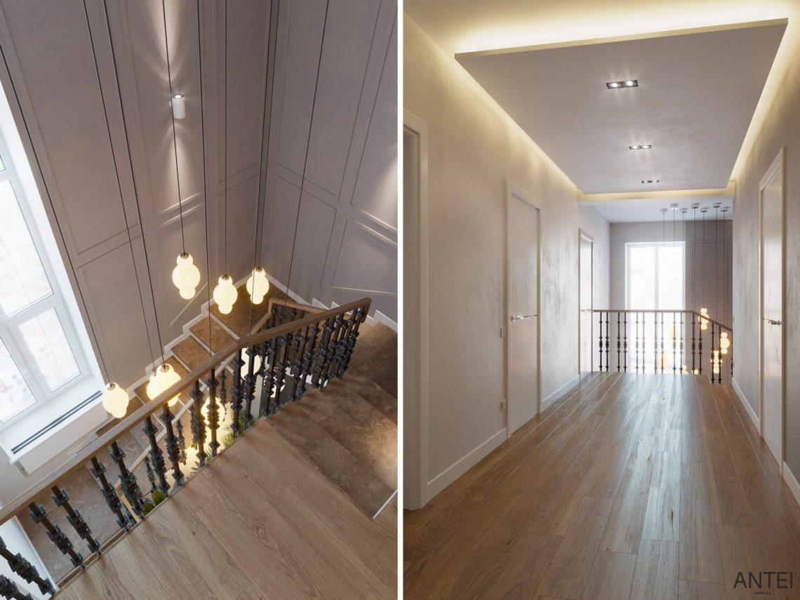 Дизайн интерьера двухэтажного дома в Гомеле, по ул. Брянская - лестница фото №1