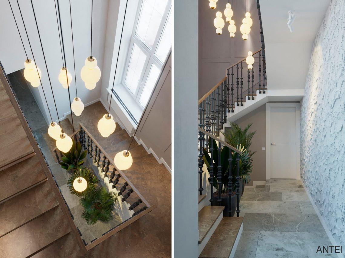 Дизайн интерьера двухэтажного дома в Гомеле, по ул. Брянская - лестница фото №2