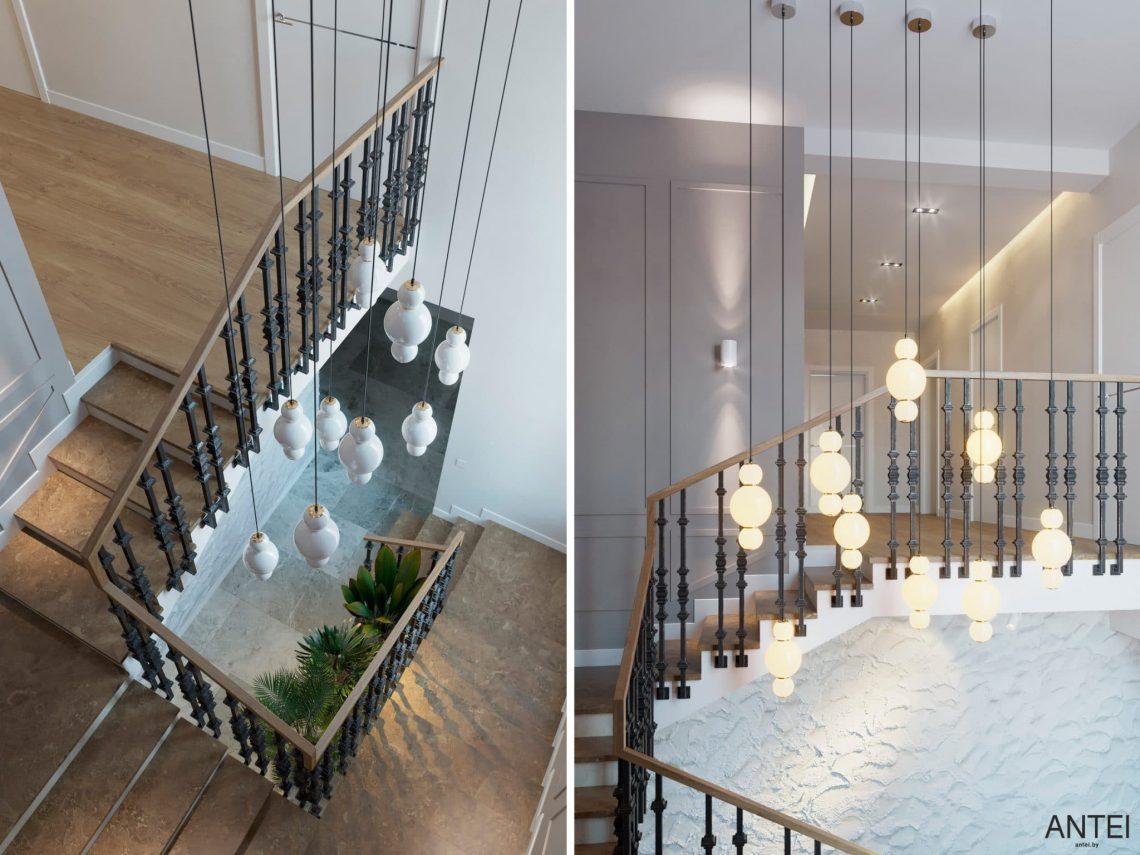 Дизайн интерьера двухэтажного дома в Гомеле, по ул. Брянская - лестница фото №3