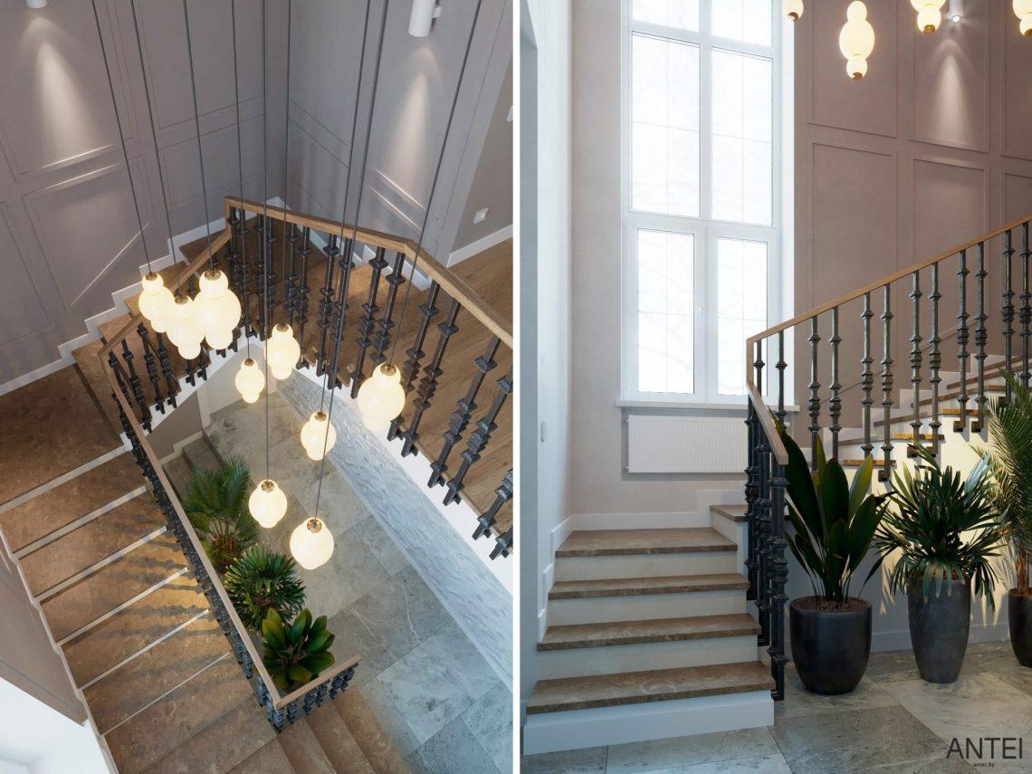 Дизайн интерьера двухэтажного дома в Гомеле, по ул. Брянская - лестница фото №4