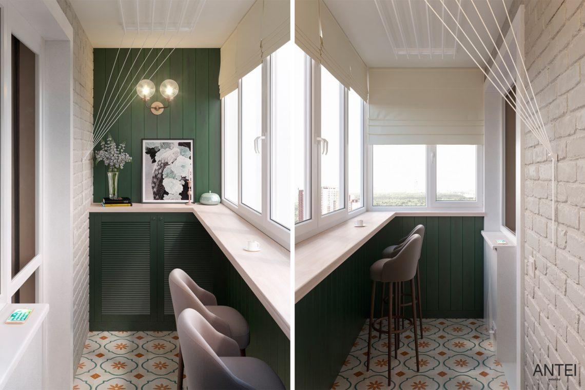 Дизайн интерьера трехкомнатной квартиры в Гомеле, ул. Бородина - лоджия фото №1
