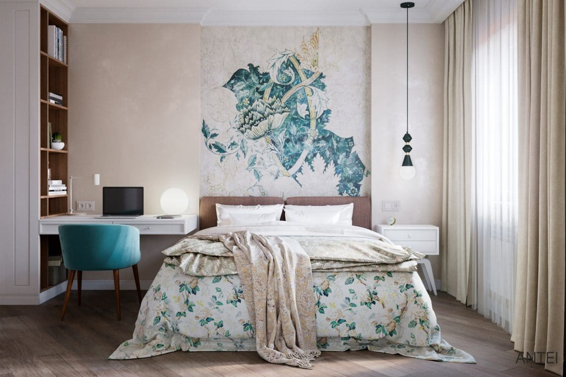 Дизайн интерьера трехкомнатной квартиры в Гомеле, ул. Бородина - спальня фото №1