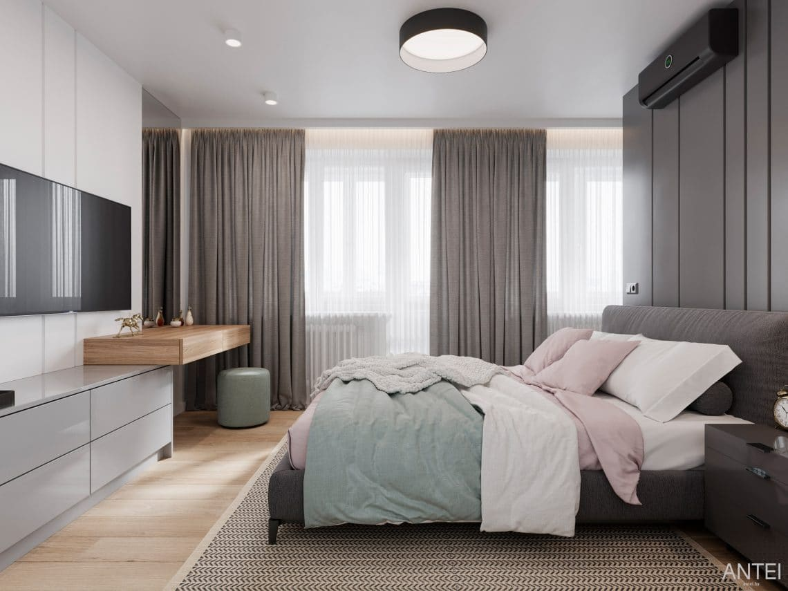 Дизайн интерьера трехкомнатной квартиры в Гомеле, по ул. Садовая - спальня фото №1