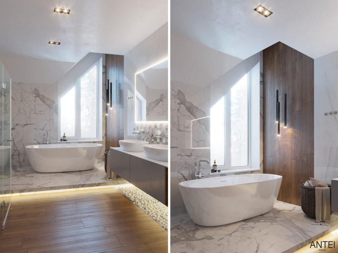 Дизайн интерьера двухэтажного дома в Гомеле, по ул. Брянская - ванная фото №1