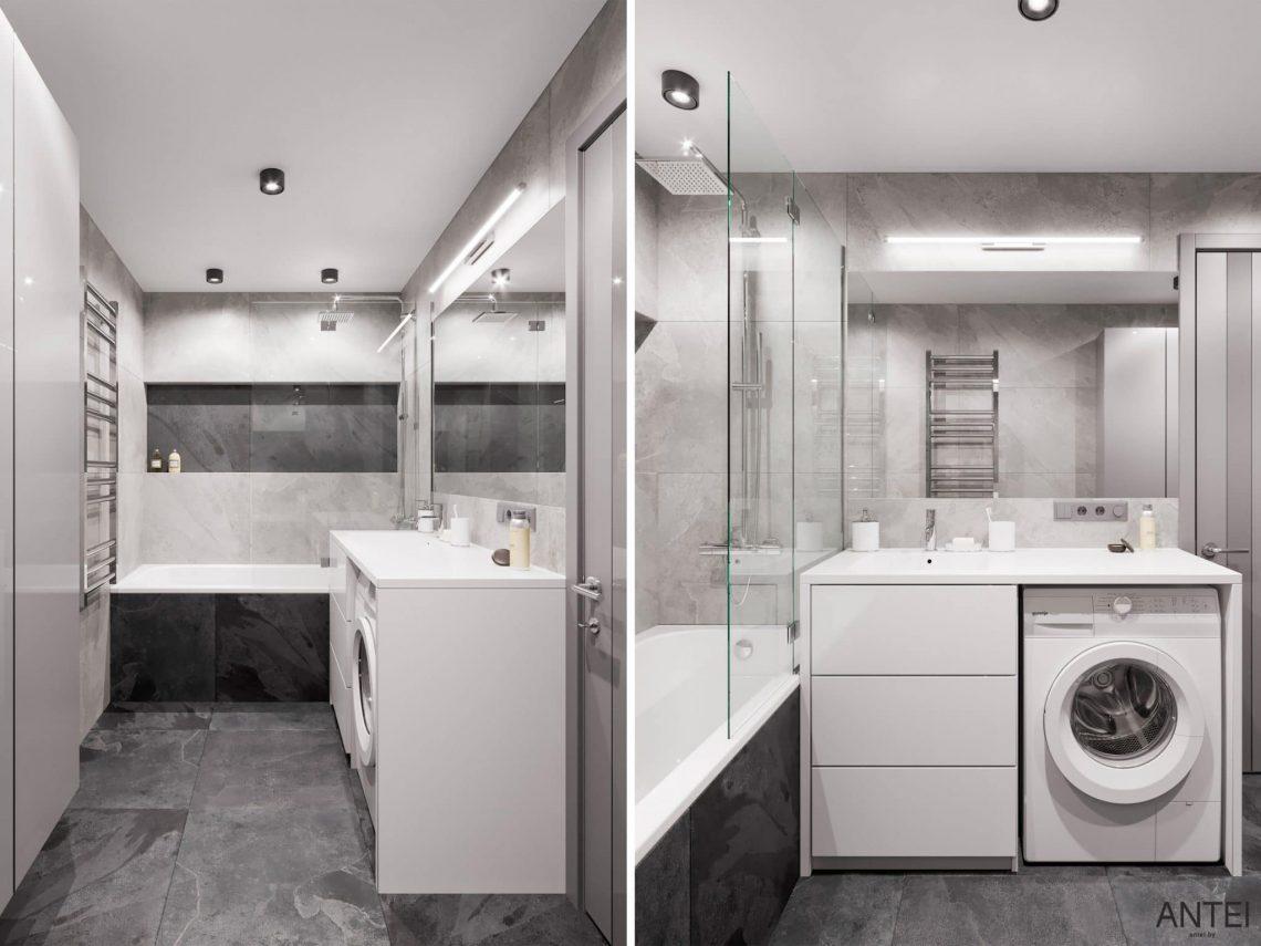 Дизайн интерьера трехкомнатной квартиры в Гомеле, по ул. Садовая - ванная фото №1