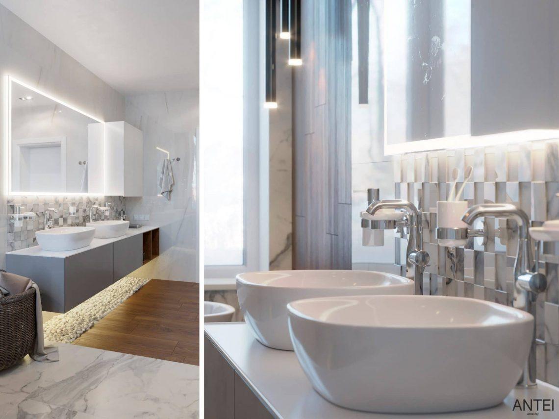 Дизайн интерьера двухэтажного дома в Гомеле, по ул. Брянская - ванная фото №2
