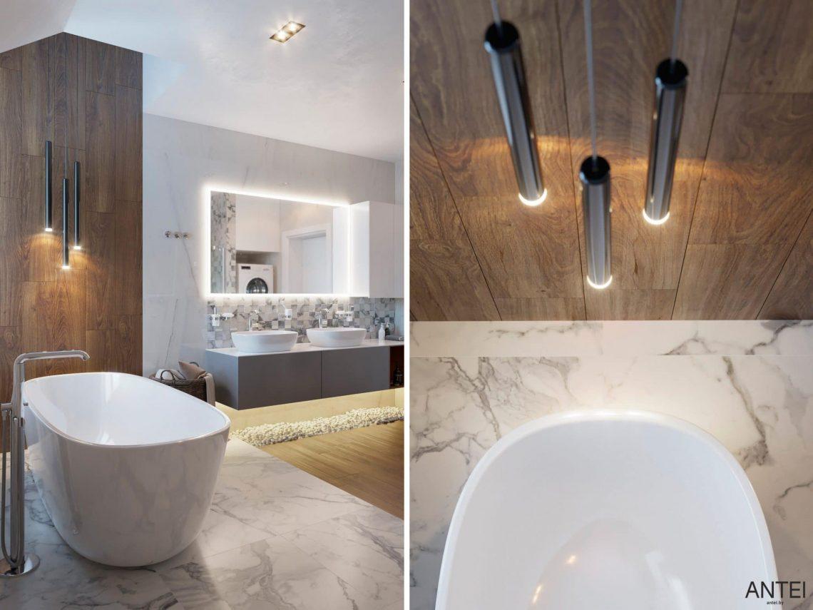Дизайн интерьера двухэтажного дома в Гомеле, по ул. Брянская - ванная фото №4