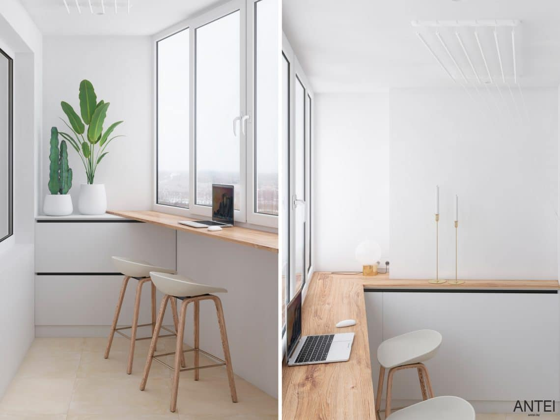 Дизайн интерьера трехкомнатной квартиры в Речице, ул. Наумова - балкон фото №1