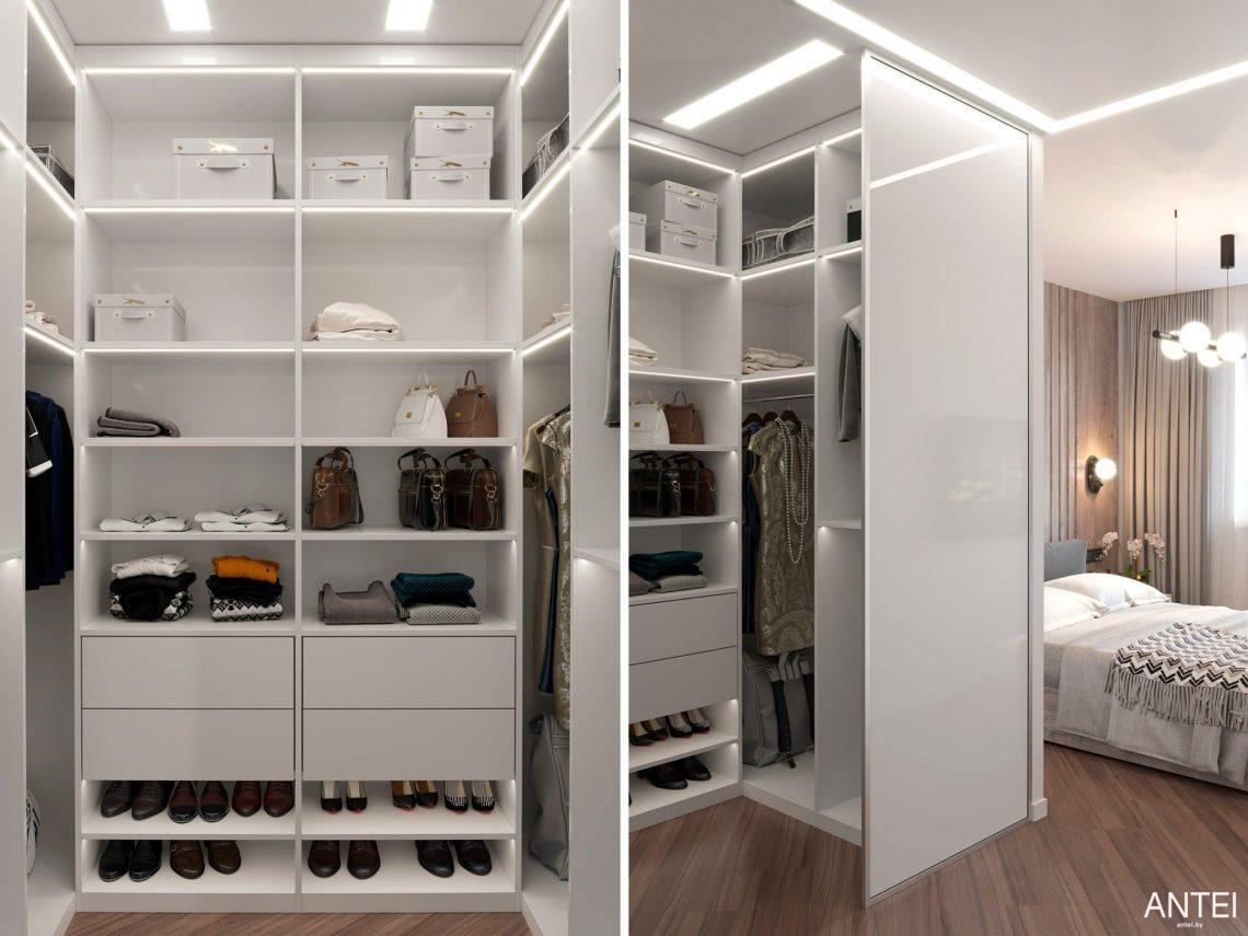 Дизайн интерьера трехкомнатной квартиры в Гомеле, по ул. Бородина - гардеробная фото №1