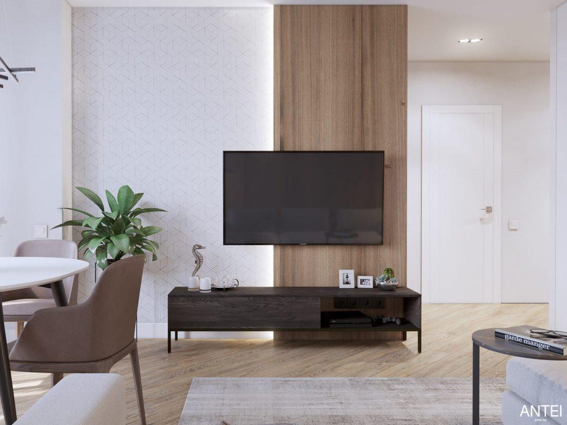 Дизайн интерьера трехкомнатной квартиры в Минске, ЖК Минск Мир - гостиная-кухня фото №1
