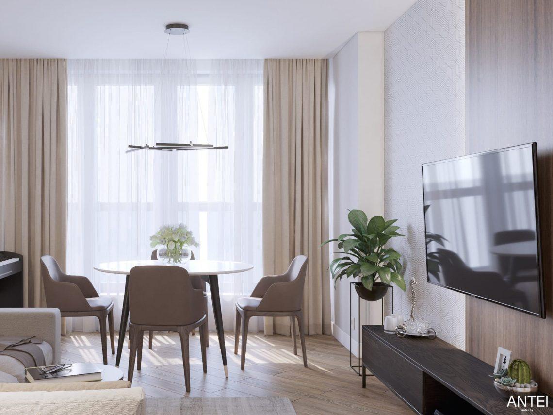 Дизайн интерьера трехкомнатной квартиры в Минске, ЖК Минск Мир - гостиная-кухня фото №3