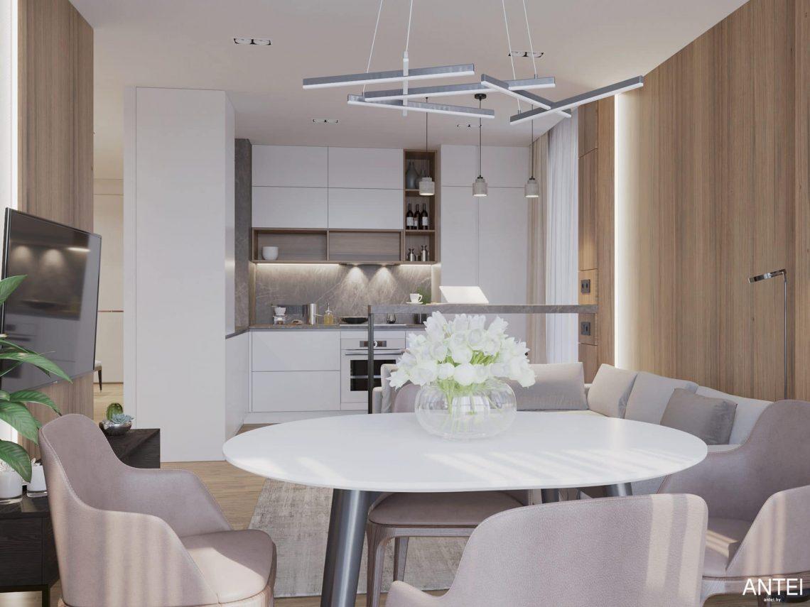 Дизайн интерьера трехкомнатной квартиры в Минске, ЖК Минск Мир - гостиная-кухня фото №5