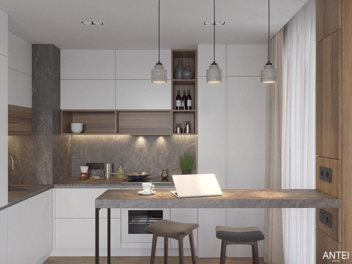 Дизайн интерьера трехкомнатной квартиры в Минске, ЖК Минск Мир - гостиная-кухня фото №6
