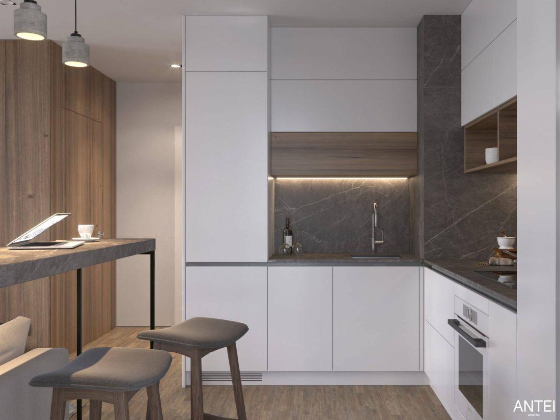 Дизайн интерьера трехкомнатной квартиры в Минске, ЖК Минск Мир - гостиная-кухня фото №7
