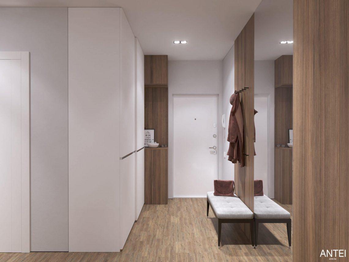 Дизайн интерьера трехкомнатной квартиры в Минске, ЖК Минск Мир - прихожая фото №1