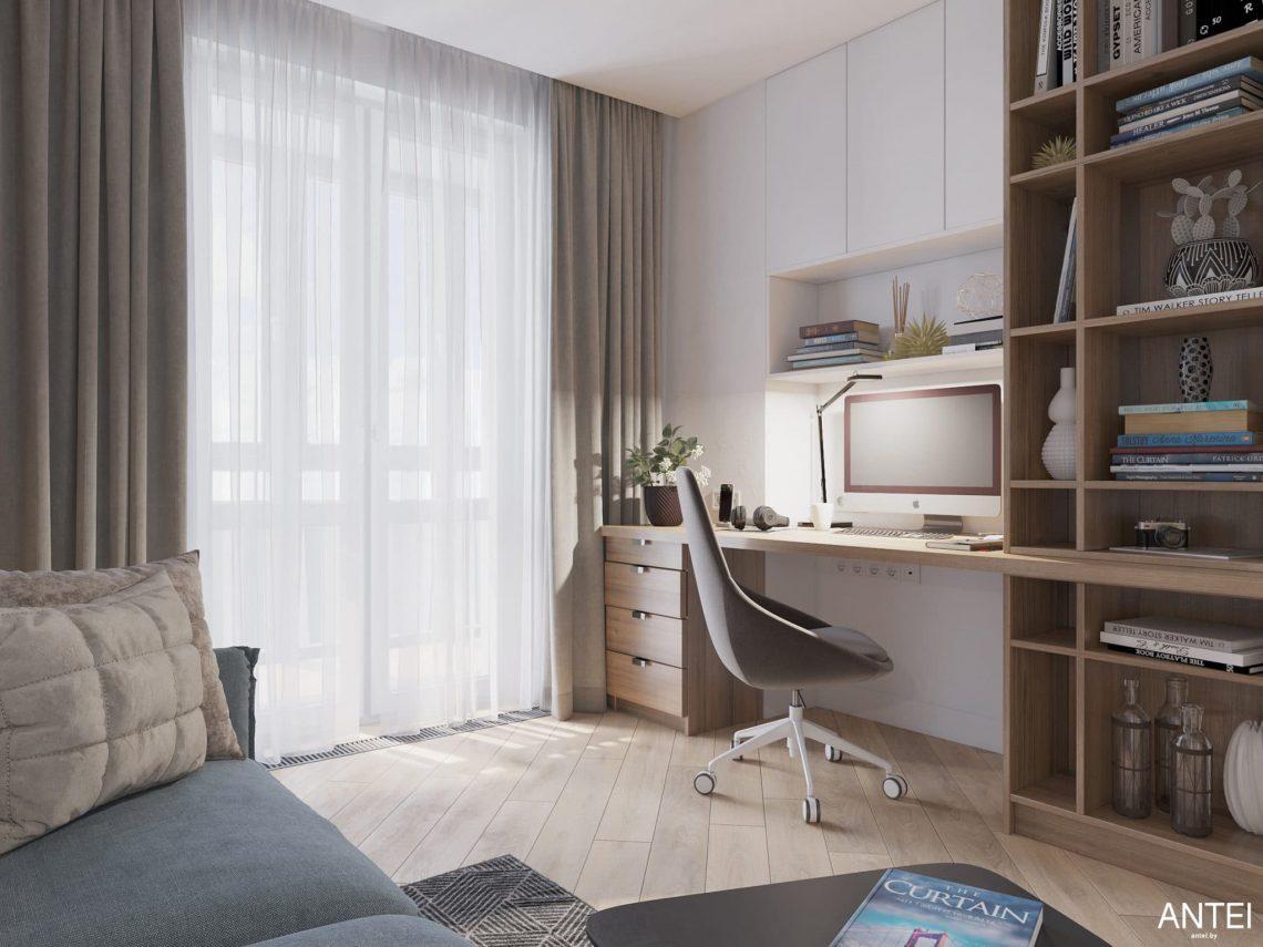 Дизайн интерьера трехкомнатной квартиры в Минске, ЖК Минск Мир - кабинет фото №2