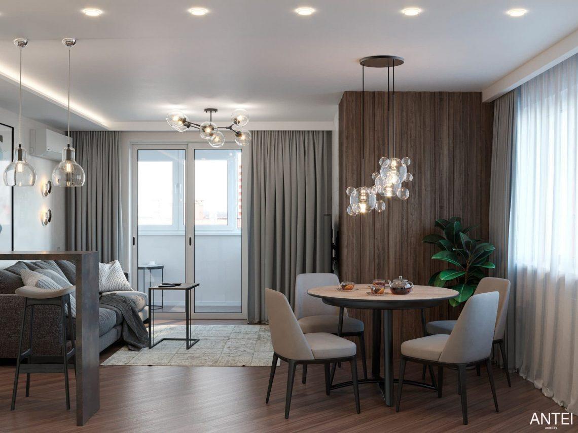 Дизайн интерьера трехкомнатной квартиры в Гомеле, по ул. Бородина - кухня-гостиная фото №1