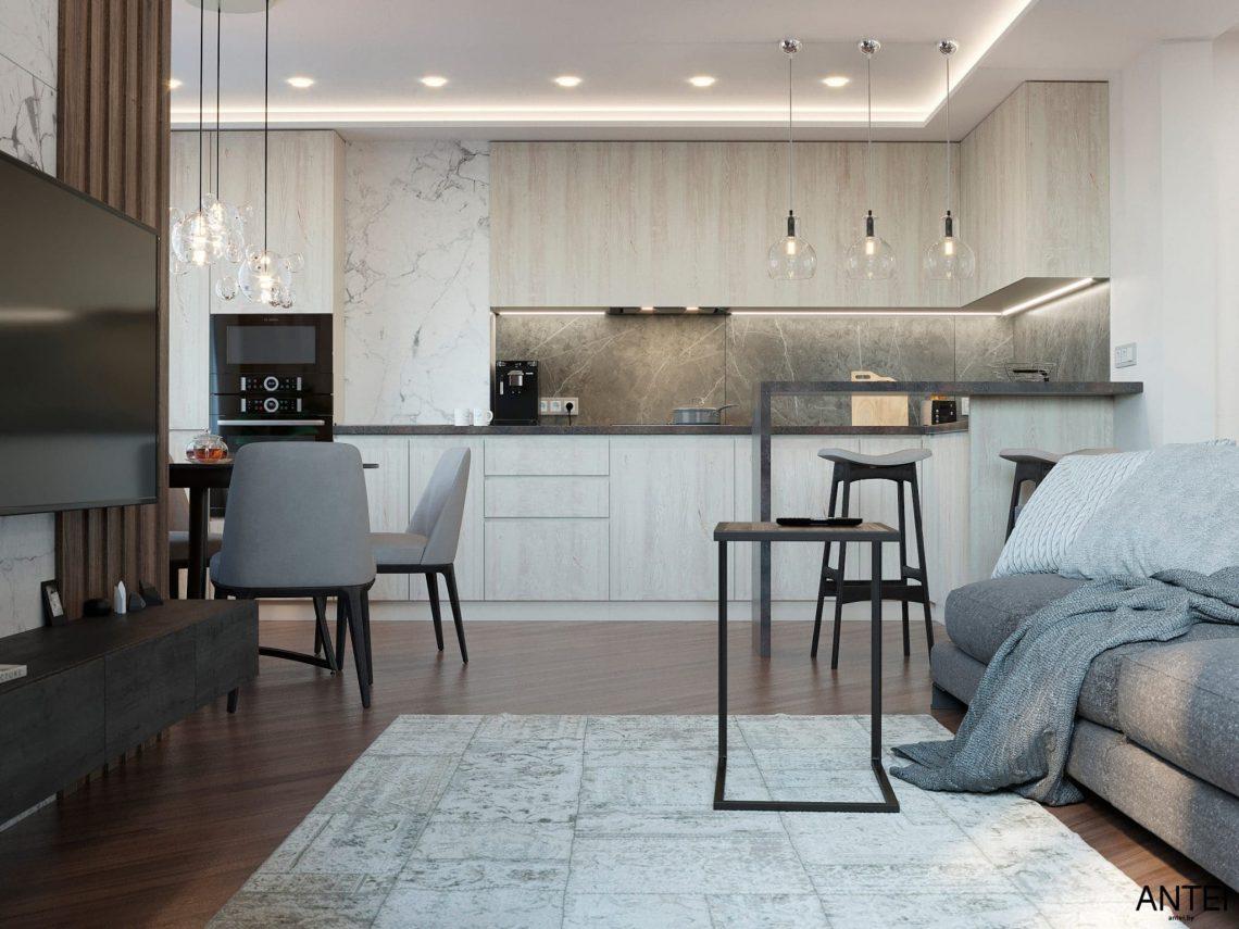 Дизайн интерьера трехкомнатной квартиры в Гомеле, по ул. Бородина - кухня-гостиная фото №2