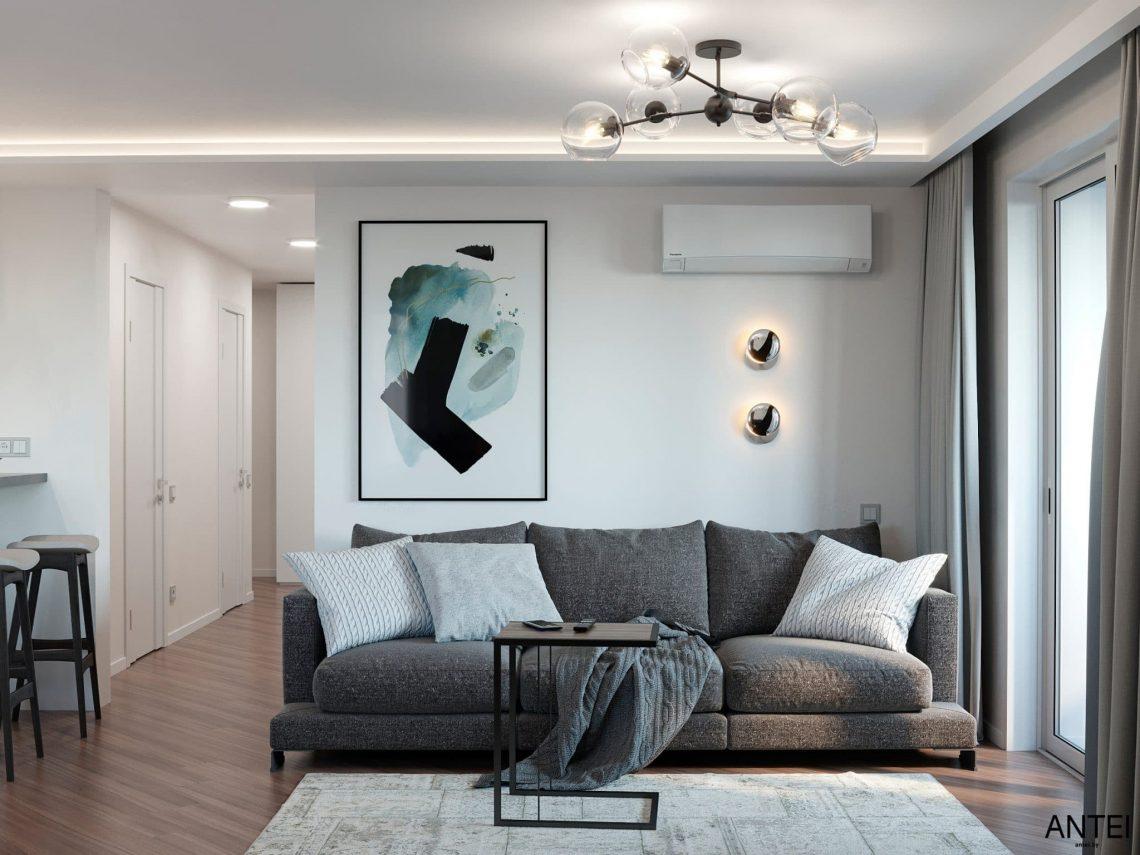 Дизайн интерьера трехкомнатной квартиры в Гомеле, по ул. Бородина - кухня-гостиная фото №3