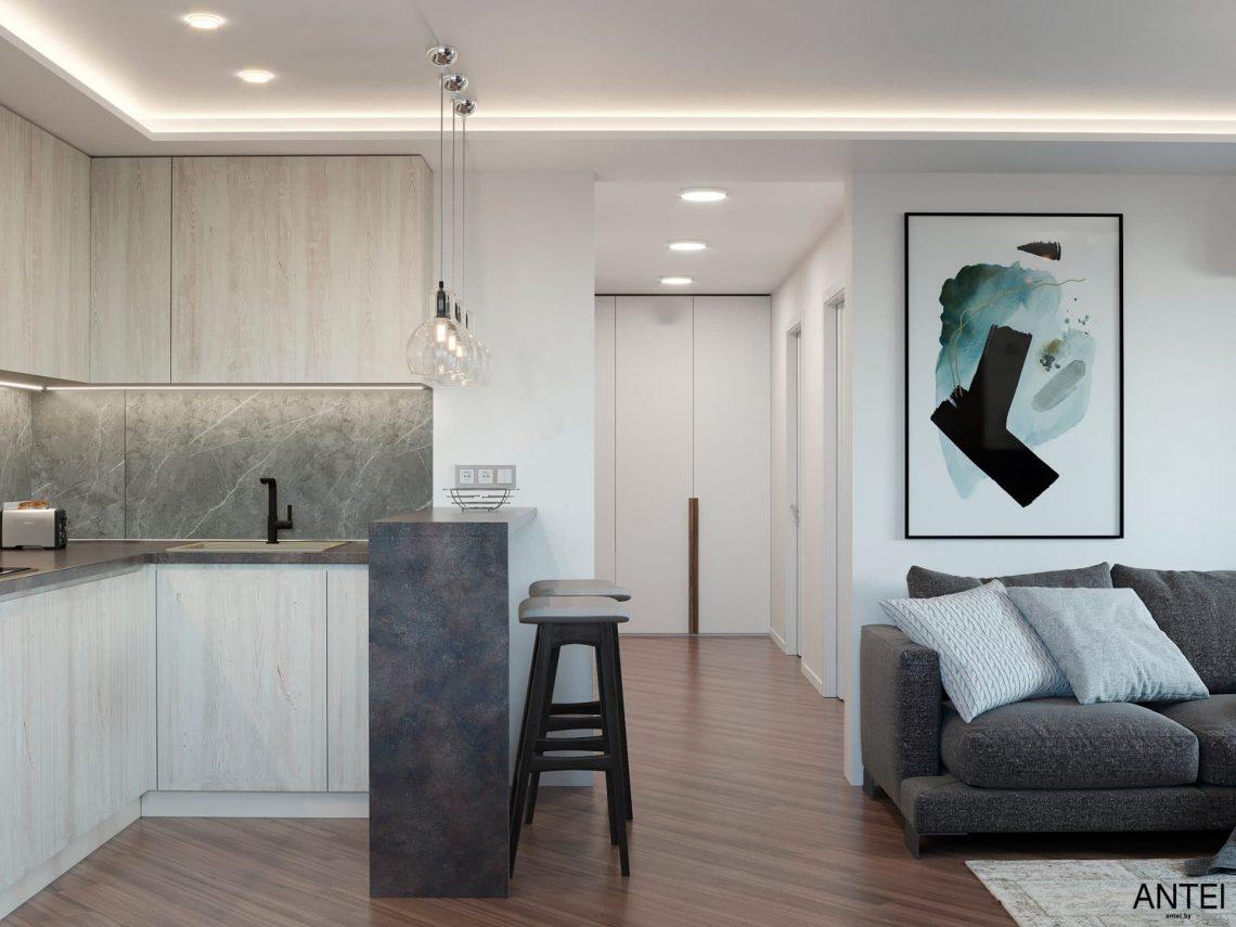 Дизайн интерьера трехкомнатной квартиры в Гомеле, по ул. Бородина - кухня-гостиная фото №4