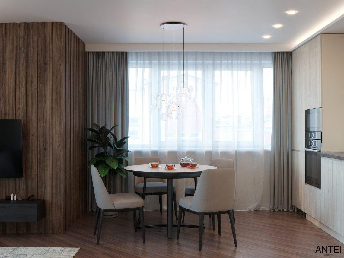 Дизайн интерьера трехкомнатной квартиры в Гомеле, по ул. Бородина - кухня-гостиная фото №5