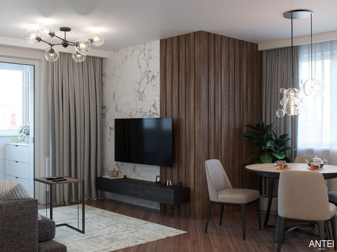 Дизайн интерьера трехкомнатной квартиры в Гомеле, по ул. Бородина - кухня-гостиная фото №6