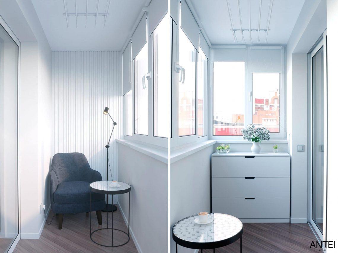 Дизайн интерьера трехкомнатной квартиры в Гомеле, по ул. Бородина - лоджия фото №1