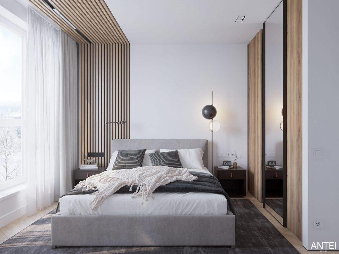 Дизайн интерьера трехкомнатной квартиры в Минске, ЖК Минск Мир - спальня фото №1