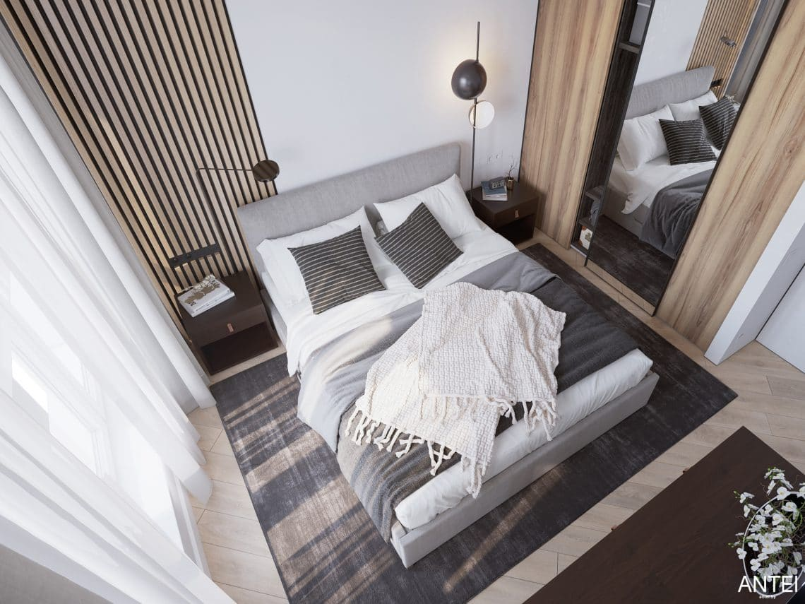 Дизайн интерьера трехкомнатной квартиры в Минске, ЖК Минск Мир - спальня фото №4