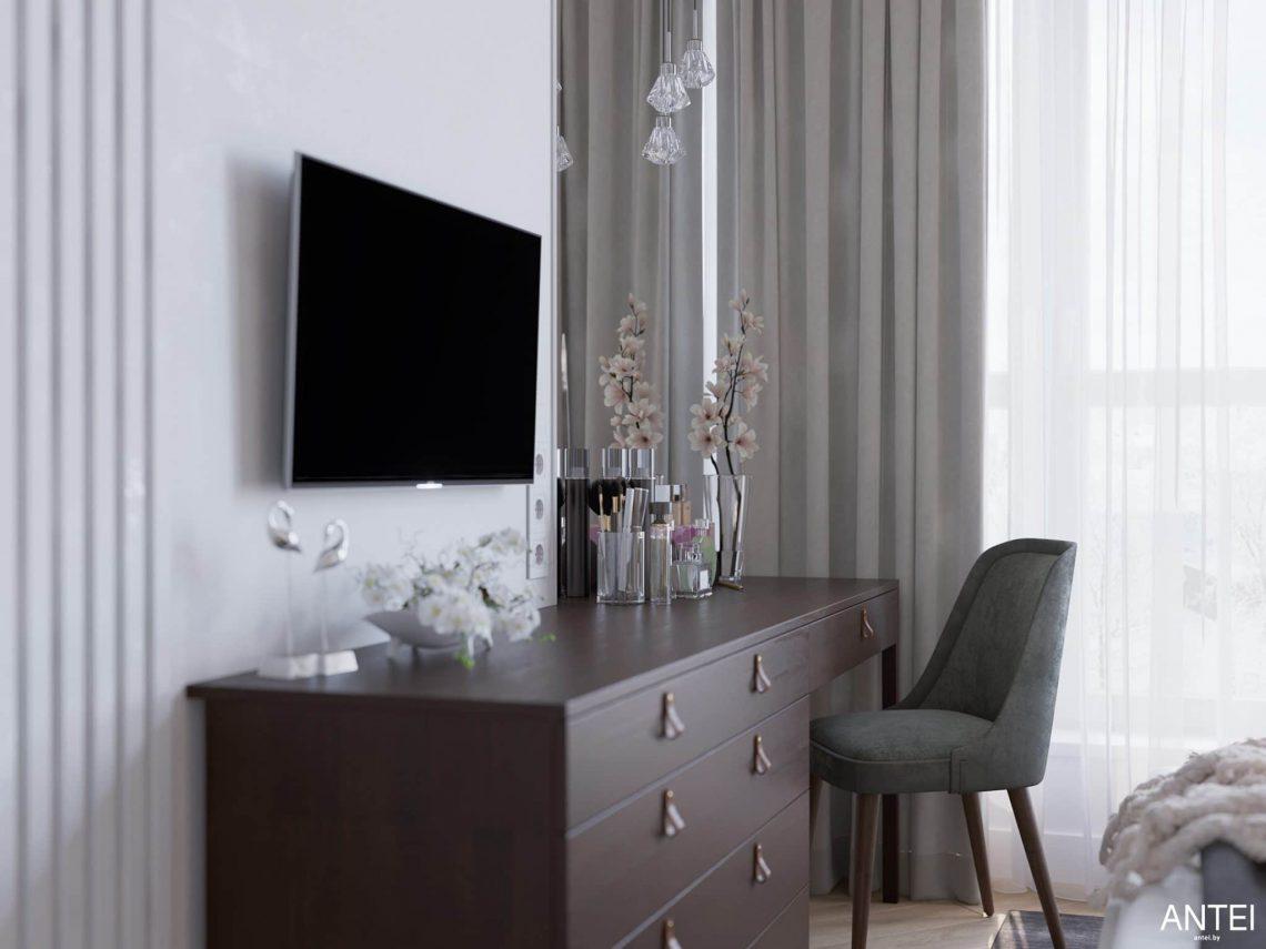 Дизайн интерьера трехкомнатной квартиры в Минске, ЖК Минск Мир - спальня фото №5