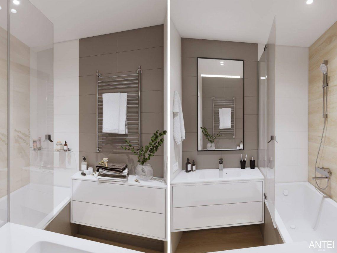 Дизайн интерьера трехкомнатной квартиры в Минске, ЖК Минск Мир - ванная фото №1