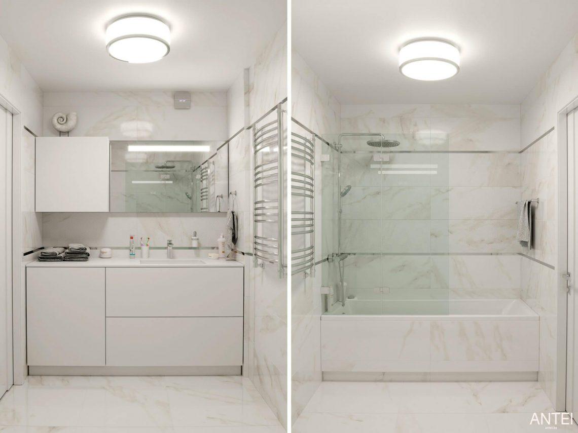Дизайн интерьера трехкомнатной квартиры в Гомеле, по ул. Бородина - ванная фото №1